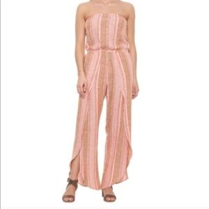 Anthropologie Drew stripe pink strapless jumpsuit